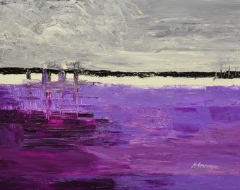"ABSTRACT paintings on canvas  purple gray grey original large acrylic mixed media art 22x28"" artist Mariana Stauffer"
