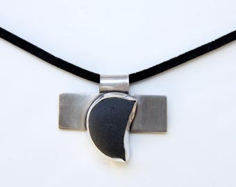 sterling silver pendant with Icelandic black lava stone