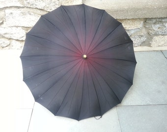 1940s ombre umbrella with lucite handle vintage umbrella 40s umbrella vintage ombre 1940s rayon