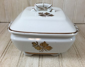Vintage Alfred Meakin Tea Leaf Ironstone Covered Butter Dish with Insert