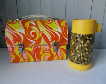 Lunchbox So Groovy, Psychedelic Metal Dome with Thermos