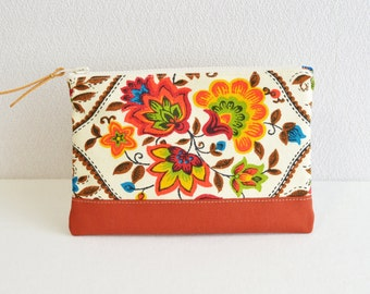 Zipper pouch | vintage | retro folk floral | red white [320] - cosmetic pouch, pen case, zip closure