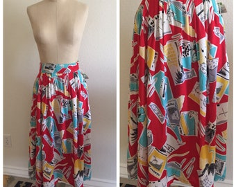 80's Vintage Deadstock Funky Print Midi Skirt - Size 9/10 - Abstract - Palm Tree - Tropical