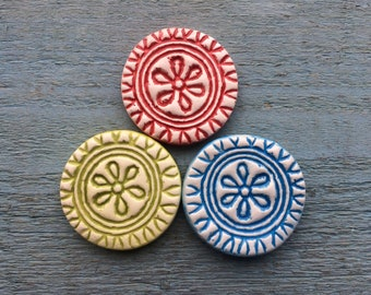 SALE Flower Magnets in a tin, Aztec Pattern, Red, Green and Blue Magnets. Indian Mandala Design, Kids Room, Office Decor, Teacher Gift.