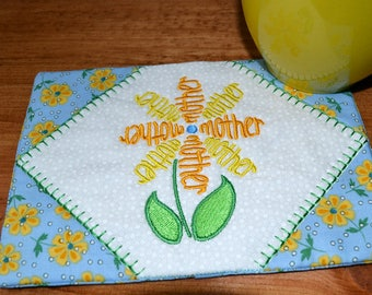 Mother Flower Mug Rug
