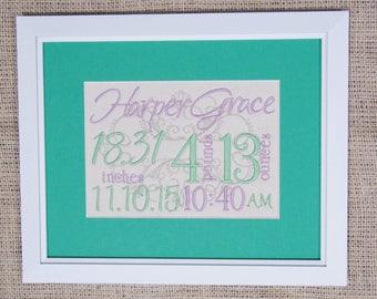 Birth Stats Decor - Purple Green Nursery - Canvas Birth Stats - Embroidered Birth Announcement - 8X10 - Lavender Green Nursery Embroidery