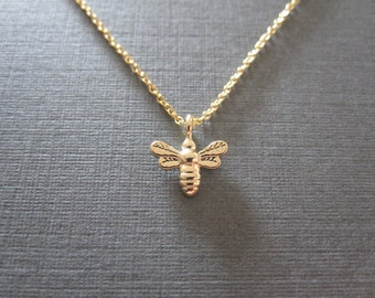 Tiny Gold Honeybee Necklace