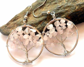 Rose Quartz Tree of Life Earrings earthegy #736