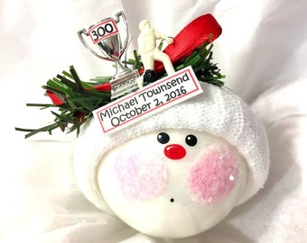 Bowling 300 Game Christmas Ornaments Trophy Personalized Tag Bowler Hand Painted Themed Townsend Custom Gifts