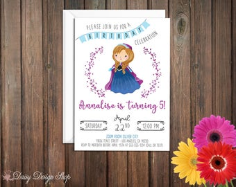Birthday Party Invitations - Princess Anna and Laurel in Watercolor Style - Frozen Princess - Set of 20 with Envelopes