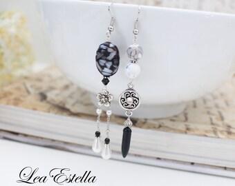 Mismatched Earrings Monochrome earrings Black Asymmetrical Earrings Mother of Pearl earrings Black White earrings - Night & Day