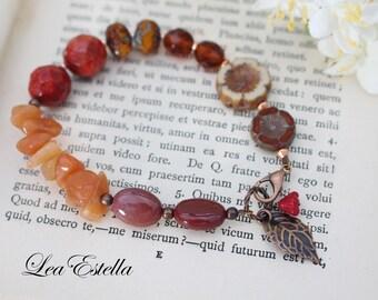 Rustic Autumn bracelet Leaf Bracelet Earthy bracelet Woodland Bracelet Garden bracelet Floral Asymmetrical bracelet - Autumn Colours