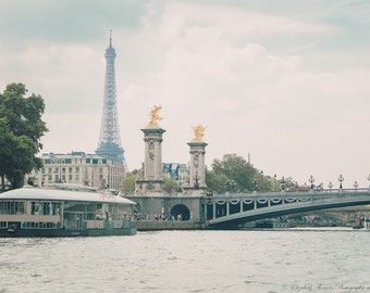 EIFFEL TOWER PARIS France Fine Art Photography ~ Pick Your Size Print, Pont Alexandre Bridge, Seine River, France, Europe, Travel,