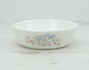 Vintage Pyrex Dish - Flower - Blue - Serving - Cooking - Kitchenware - Decor -Milkglass
