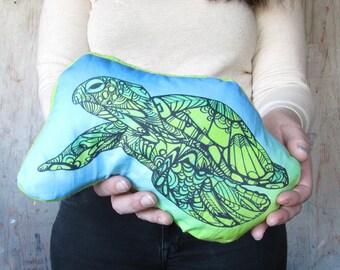 Sea Turtle Tangle Art Plushie Pillow