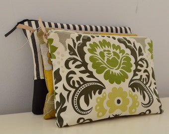 Zipper Pouch in Damask - olive floral ivory cosmetic bag travel case diaper bag organizer medium  ipad mini kindle toiletry gift set