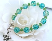 Medical Alert Bracelet Ice Blue and Green with Star Fish Charm
