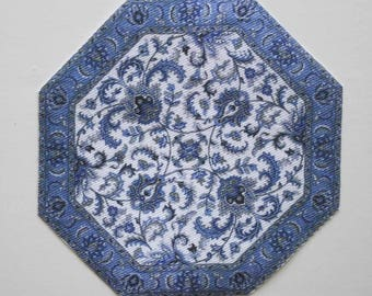 Miniature Rug Octagon Blue and White in Several Sizes For Dollhouse