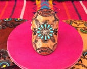 Tooled Leather Ring with Vintage Zuni Sterling & Turquoise Size 8