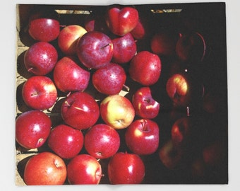 Throw blanket, apple harvest at the farmer's market, warm red gift for chef, gourmet cook, gardener, foodie, photograph, home decor