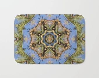 Bath mat, White Pine Branch Mandala, kaleidoscope, blue, green, gold,  brown, nature photograph, bathroom decor, mother's day gift 1564