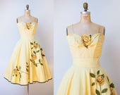 1950s Juli Lynne Charlot Rose Dress / 50s Pale Yellow Sundress Set