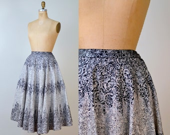 1950s Mexican Circle Skirt / 50s Full Skirt