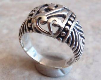 Sterling Silver Ring Scroll Bead Fancy Cutout Size 6.5 Vintage GS0005