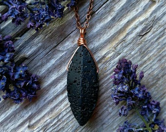 Wire Wrapped Lava Rock Necklace Stone Pendant Gemstone Copper Jewelry