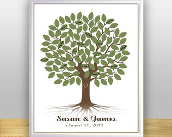 Wedding Tree Guest Book, Wedding Guest book, Leafy Signature Guestbook Tree - Custom color, size, text and language - DIGITAL PRINTABLE JPEG