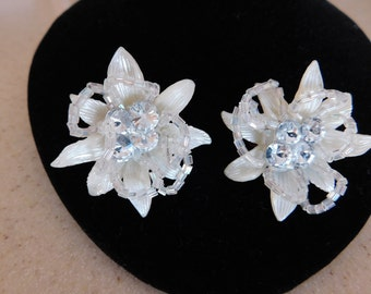 Stunning Vintage Earrings - Large Rhinestones, Striated Leaves, Glass Bugle Beads- Comfortable Clip Ons