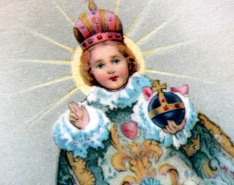 Vintage USA Lithograph Infant of Prague Holy Card