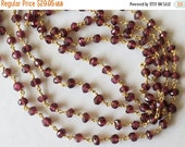 ON SALE 55% Garnet Faceted Rondelle Beads in 925 24Kt Gold Plating Wire Wrapped Rosary Style Chain Garnet Beaded Chain, By the Foot