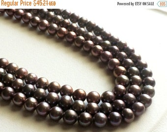 60% HOLIDAY SALE Pearls - Purple Grey Color Pearls, Natural Fresh Water Round Pearls, Natural Pearls, 6mm, 8 Inch Half Strand, 35 Pieces, Wh