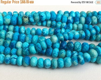 ON SALE 55% Turquoise Faceted Rondelle Beads, Chinese Turquoise Beads, Turquoise Necklace 5-11mm, 8 Inch, 35 Pcs - GSA2