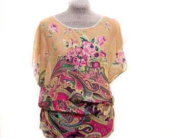 Bright floral and paisley print blouse / top made from printed sheer beige chiffon. Made in the UK, Manchester