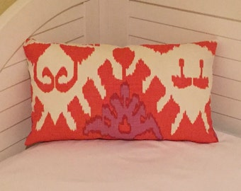 Quadrille China Seas Kazak in Orange Designer Lumbar Pillow Cover 12x20