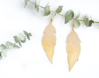 Leather Feather Silhoutte Earrings with Ombre Gold Leaf - Ready to Ship