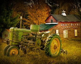 Old Vintage John Deere Tractor in a Farm Field in West Michigan with Retro Overlay, Image No.OL426 Fall Farm Landscape Photograph
