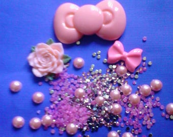Sale--kawaii pink bow cabochon decoden deco diy kit mini  200---USA seller