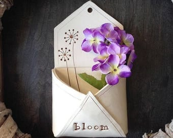 Ceramic Wall Pocket - Ceramic Envelope  - Ceramic and pottery - Ceramic Planter - Hanging Planter - Flower Vase - Succulent Ceramic Pot