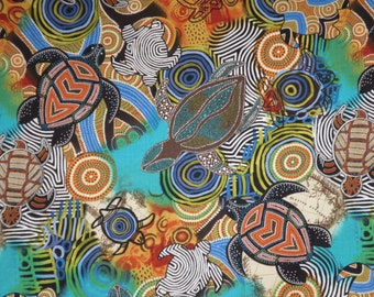 Beautiful Sea Turtles Aboriginal Inspired Print in Blues and Greens Pure Cotton Fabric--By the Yard