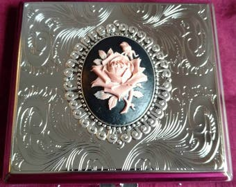 English Rose silver Gothic Steel cigarette case / wallet / card holder in Pink, Cream, White, Blue or Red