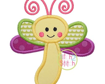 Baby Dragonfly Applique, shown with our Autumn font NOT included, Design In Hoop Size(s) 4x4,  5x7, and 6x10 INSTANT DOWNLOAD now available
