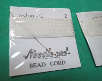 One (1) 2 Yard Card of Size 2 Needle End Bead Cord - White Nylon - C