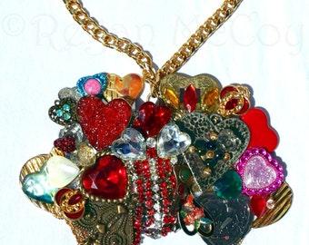 BE MINE Valentine Stunning Vintage Swarovski Rhinestone Assemblage Heart Statement Choker