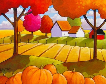 8x11 Art Print, Modern Folk Art Autumn Pumpkin, Country Field, Tree Colors, Farm Cottage, Fall Landscape Giclee Reproduction Artwork Horvath