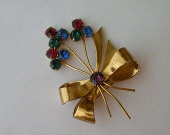 Coro sterling silver bow brooch pin