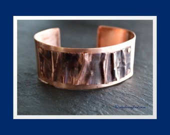 Fold Formed, Riveted, Beaten Up, Copper Art Bracelet, Industrial style, Boho Style, Copper Cuff, Copper Bangle