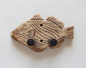 Unique hand carved ukulele wall mount hanger, trigger fish.